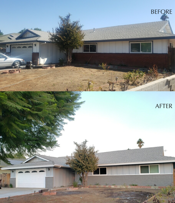 before and after house paint