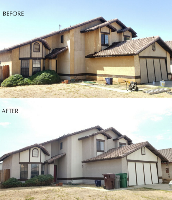 before and after house paint exterior moreno valley
